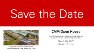 Red and white Save the Date card for CVM Open House