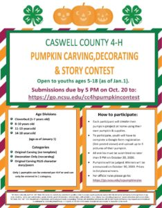 Cover photo for Caswell County 4-H Pumpkin Carving Contest