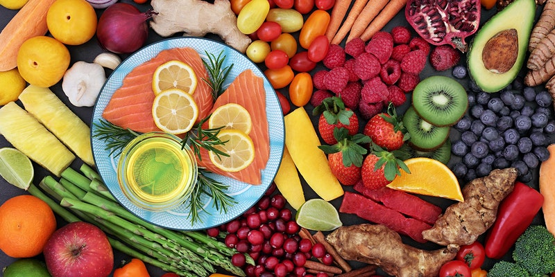 Fish, fruits, and vegetables
