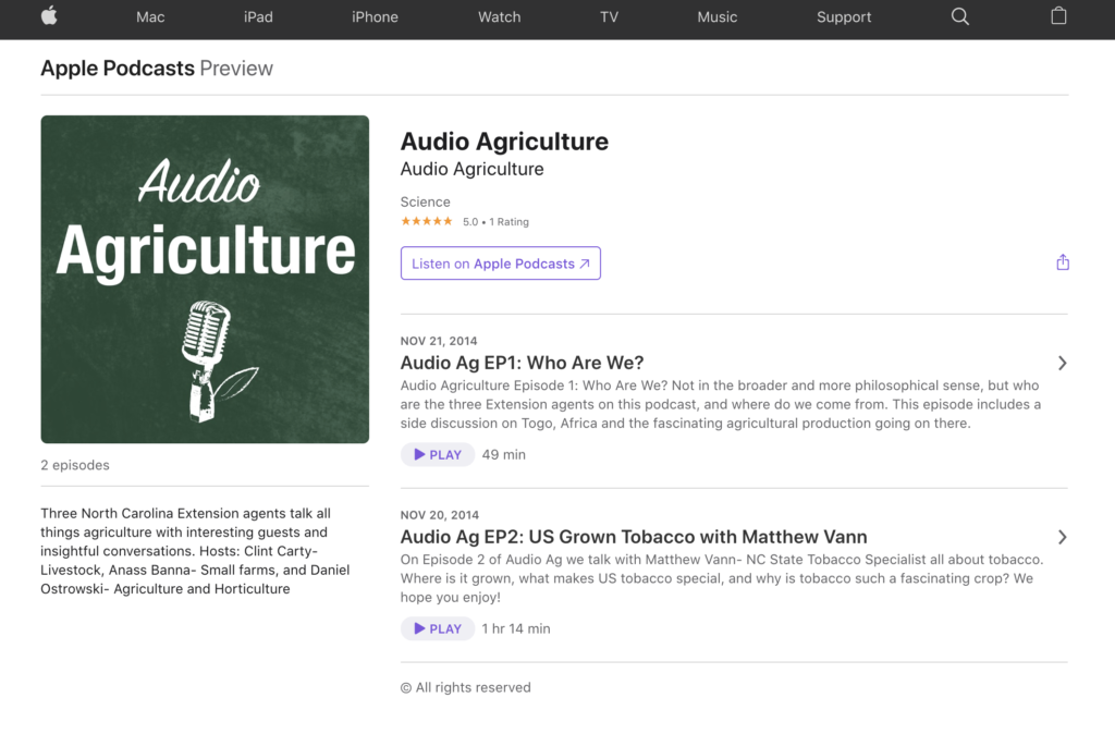 Audio Agriculture podcast site