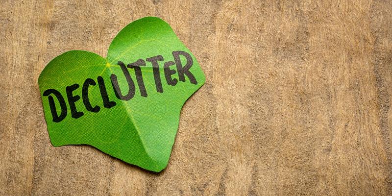 Leaf that has the word declutter written on it